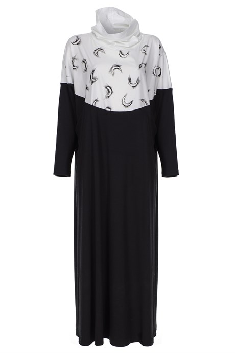 MiiN Black and White Hand Painted (Peinture) Detailed Maxi Dress