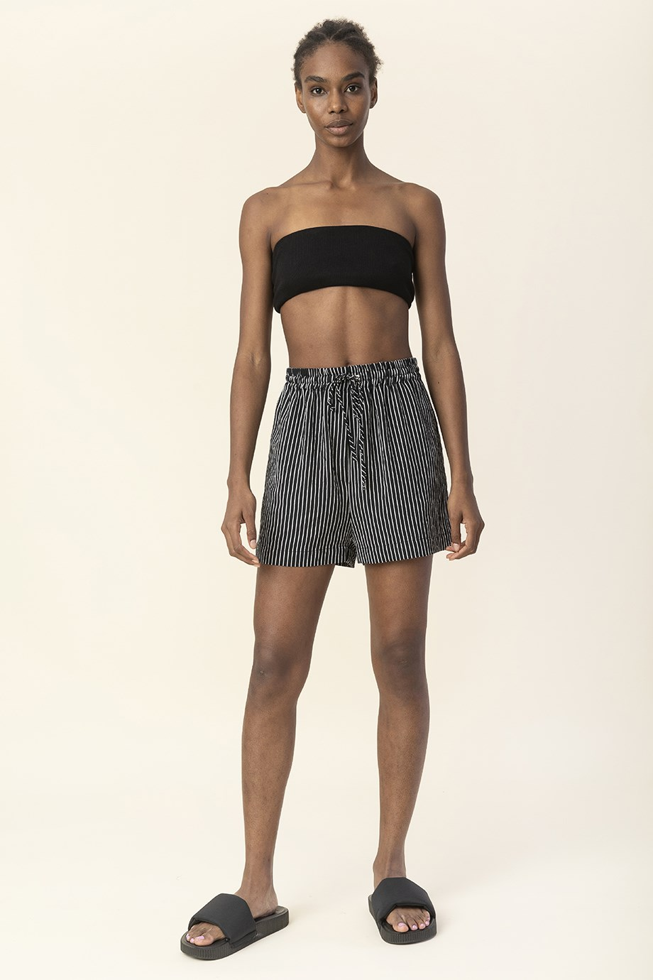 MiiN Black and White High Waist Belted Detailed Shorts