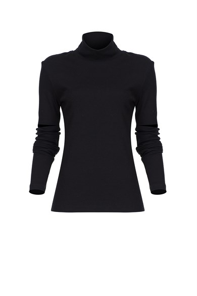 MiiN Black Turtleneck Narrow Form Blouse With Cut Off Elbows