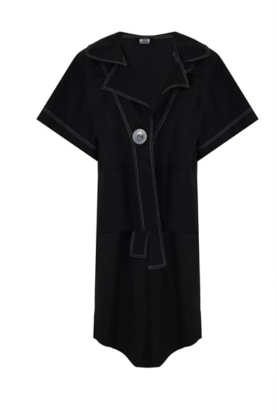 MiiN Black Button Detailed Wide Form Long Back Jacket