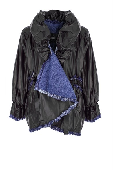 MiiN Black Asymmetric wide high neck puff jacket with denim lining.
