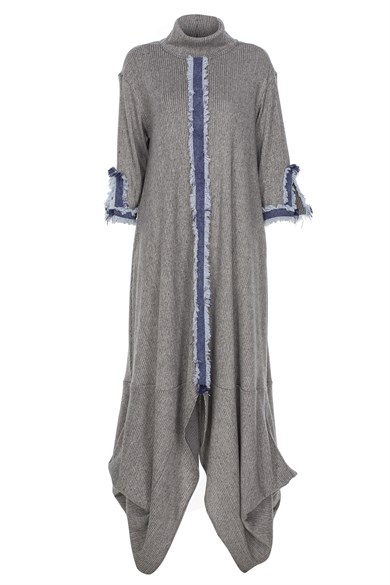 MiiN Gray Blue Denim Detailed Ruffled Maxi Dress