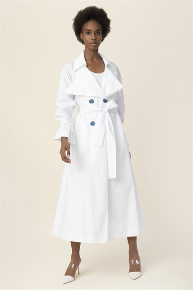 MiiN White Button Detailed Belted Trench Coat
