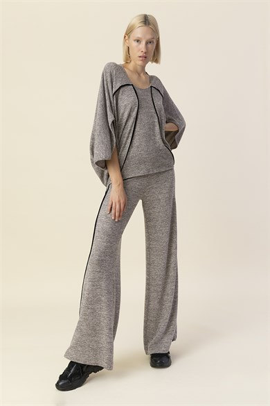 MiiN Gray Black Knitted Regular Waist Trousers