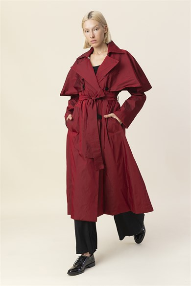 MiiN Claret Red Button Detailed Belted Long Trench Coat