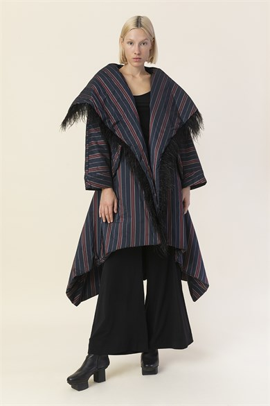 MiiN Dark Blue-Maroon Striped Feather Detailed Asymmetric Wide Puff Coat