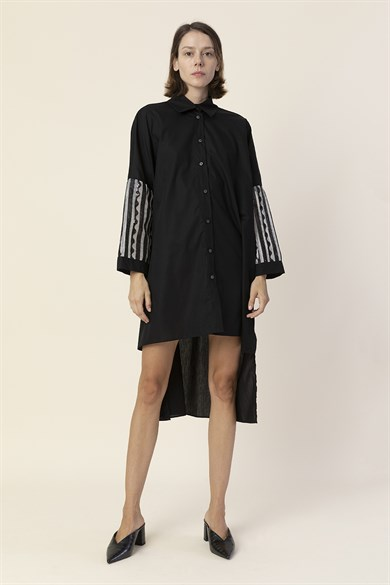 MiiN Black and White Sequin Detailed Sleeve Shirt Dress