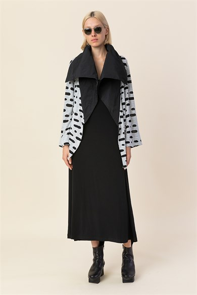 MiiN Black Gray Knitted High Taffeta Collar Detailed Cardigan