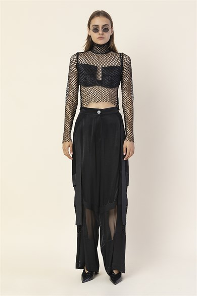 MiiN Black Fishnet Turtleneck Sheer Blouse