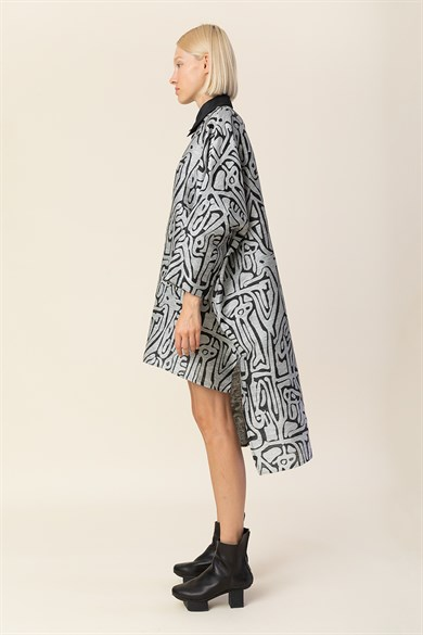 MiiN Black Gray Moon Patterned Jacquard Shirt Dress