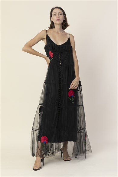 MiiN Black Red Floral Embroidery Detailed Maxi Dress
