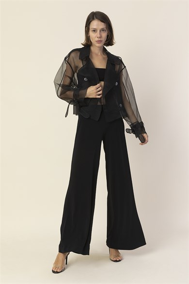 MiiN Black Sheer Mother-of-Pearl Button Detailed Short Limited Jacket