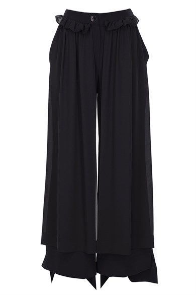 MiiN Black Regular Waist Frilly Detailed Wide Form Trousers