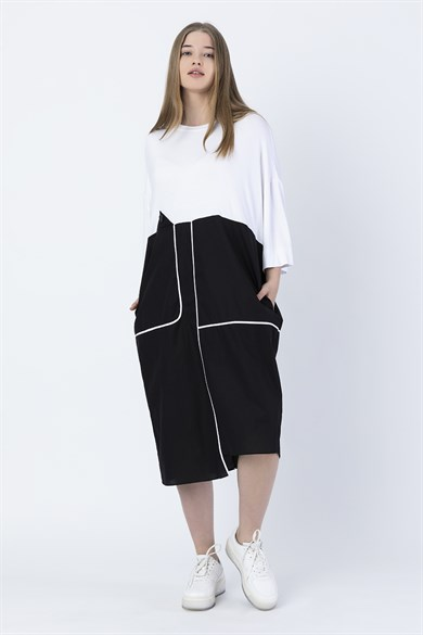 Miin White Black Asymmetric Multi-Piece Short Sleeve Wide Form Dress