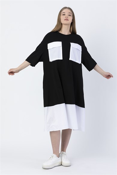 Miin Black and White Bike Collar Short Sleeve Dress