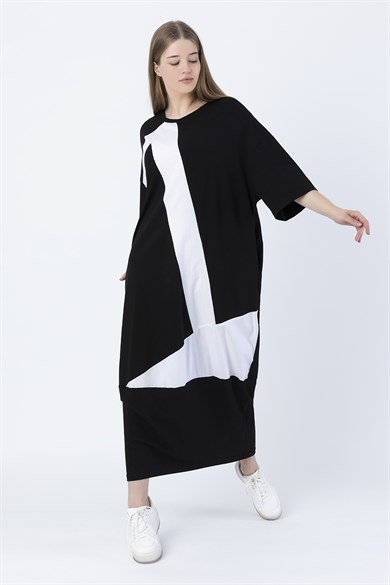 Miin Black and White Three Quarter Sleeve Asymmetric Piece Maxi Dress