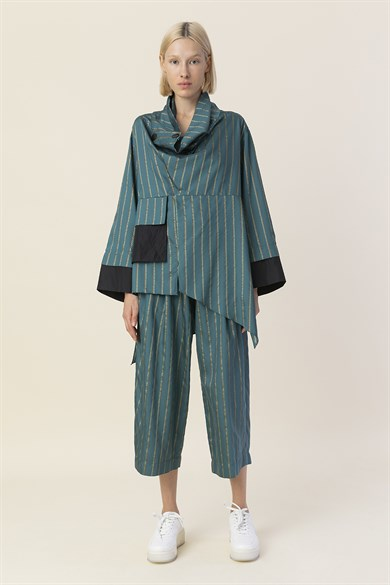 MiiN Petrol Green And Black-Striped Wide Form, Long Back Taffeta Pocket Detailed Blouse