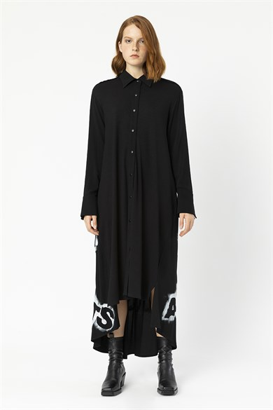 MiiN Black Hand Painted (Peinture) Detailed Shirt Dress