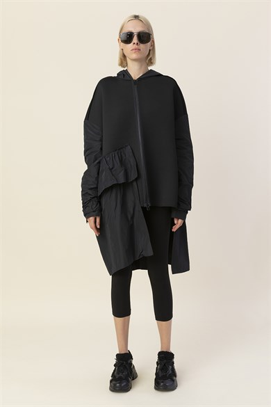 MiiN Black Asymmetric Hooded Diver Cardigan