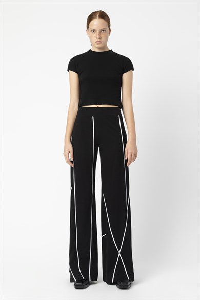 MiiN Black Wide Form Piping Detailed Trousers