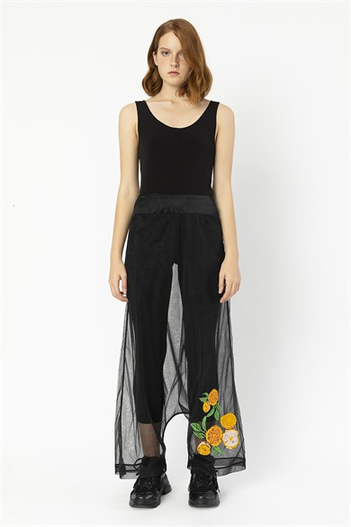 MiiN Orange Citrus Embroidery Detailed Harem Trousers Over Black Tulle