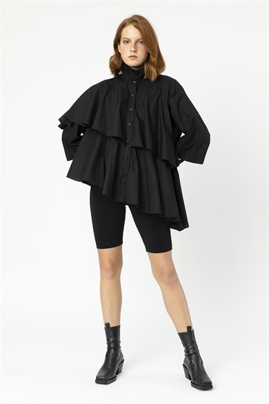 MİİN Black High Collar Ruffle Wide Form Shirt