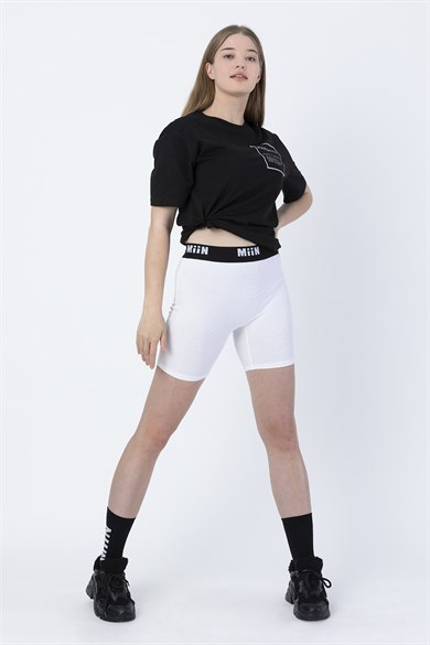 Miin White Waist Rubber Detailed Leggings with Miin Logo